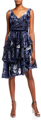 Marchesa Sleeveless Velvet Burnout Chiffon Dress w/ Tiered Skirt