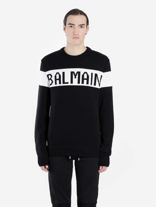 Balmain MEN'S BLACK AND WHITE LOGO CREWNECK KNITWEAR