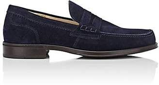 Barneys New York MEN'S SUEDE PENNY LOAFERS - NAVY SIZE 9 M