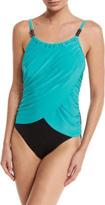 Magicsuit Lisa Draped-Front Underwire One-Piece Swimsuit $156 thestylecure.com