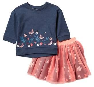 Petit Lem Floral Top & Tulle Skirt Set (Toddler & Little Girls)