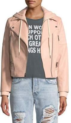 Alice + Olivia AO.LA by Alice+Olivia Avril Hooded Combo Sweatshirt Leather Jacket