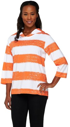 Denim & Co. Painterly Stripe Oversized Knit Hoodie