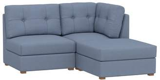 Pottery Barn Teen Burnett Sectional Set, (1 Corner, 1 Armless, 1 Ottoman), Enzyme Washed Canvas Storm Blue, IDS