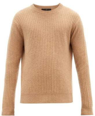 Allude Ribbed Crew Neck Cashmere Sweater - Mens - Beige