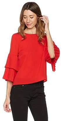 Plumberry Women's Ruffled-Sleeve Zip-Back Casual Blouse Top