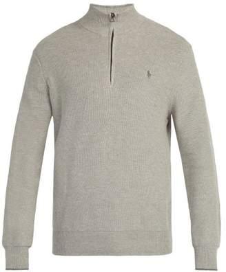 Polo Ralph Lauren High Neck Waffle Knit Cotton Sweater - Mens - Light Grey