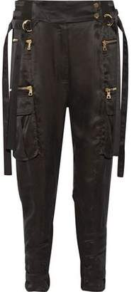Balmain Stretch-Jersey Paneled Satin-Twill Tapered Pants