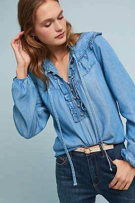 Pilcro and the Letterpress Pilcro Ruffled Chambray Blouse