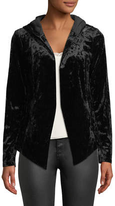 BCBGeneration Crushed Velvet Hooded Tuxedo Blazer