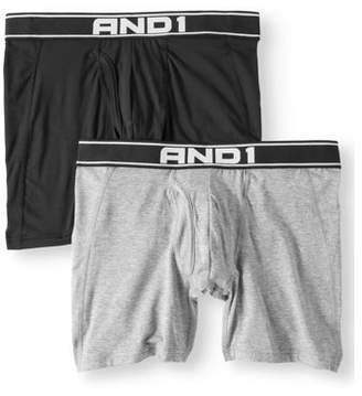 AND 1 Men's Performance Sport Soft Boxer Brief with Fly Pouch, 2-Pack