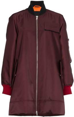Calvin Klein zip-up long bomber jacket