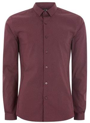 Topman Mens Red Burgundy Polka Dot Long Sleeve Shirt