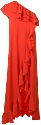 Ganni ruffled one shoulder dress