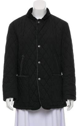 Burberry Suede-Trimmed Quilted Jacket