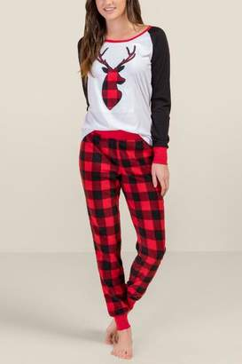 francesca's Buffalo Plaid Fam Jam Ladies PJ Set - Red