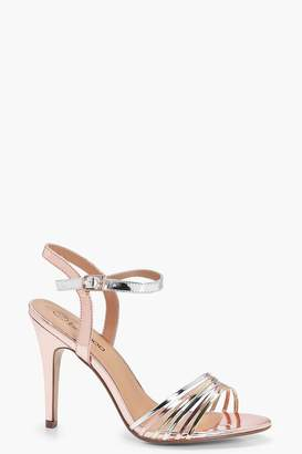 boohoo Lea Wide Fit Mixed Metallic Mid Heels