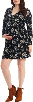Everly Grey Brigida Long Sleeve Maternity/Nursing Wrap Dress