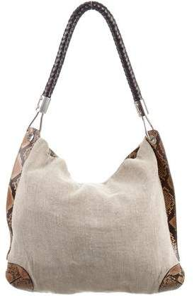 Michael Kors Snakeskin-Accented Canvas Hobo