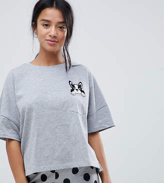 Asos DESIGN Petite Frenchie Pocket Tee And Legging Pajama Set