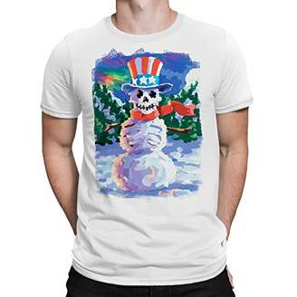 Liquid Blue Unisex-Adult's Plus Size Uncle SAM Snowman Skeleton Short Sleeve Graphic TEE