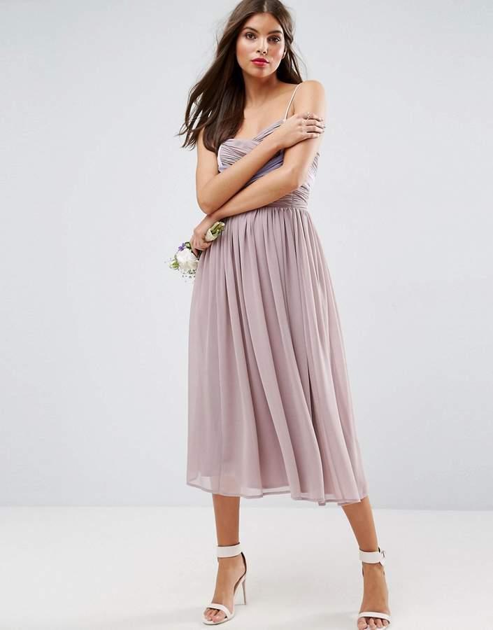Asos Wedding Ruched Colour Block Midi Dress