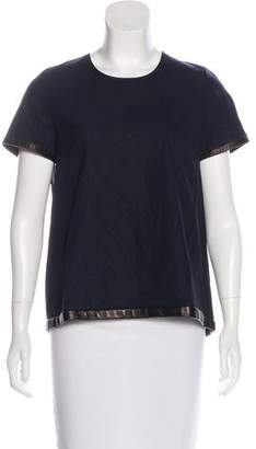 Ter Et Bantine Leather Trim Short Sleeve Top