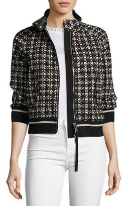 Moncler Fiadone 3/4-Sleeve Boxy Textured Jacket, Black $1,355 thestylecure.com