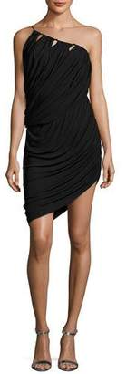 Halston One-Shoulder Asymmetric Draped Jersey Short Dress, Black