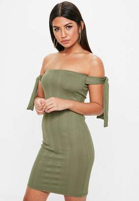 Missguided Khaki Ribbed Bandage Bardot Dress