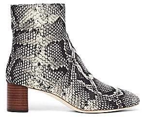 Loeffler Randall Women's Gema Snakeskin Embossed Leather Booties