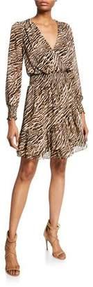 MICHAEL Michael Kors Safari Animal-Print Smocked-Waist Ruffle Dress