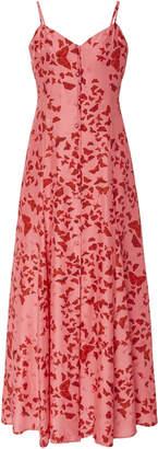 Rebecca de Ravenel Printed Silk Jacquard Button-Front Maxi Dress Size: