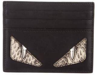 Fendi Snakeskin-Trimmed Monster Cardholder