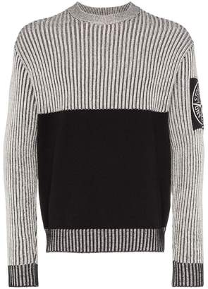 Stone Island two tone ribbed detail jumper