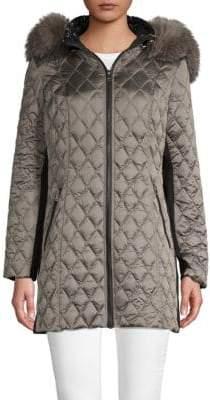 1 Madison Fox Fur-Trimmed Puffer Jacket