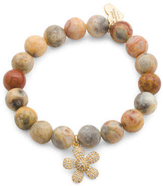Made In Usa Yellow Agate Cz Flower Charm Bracelet