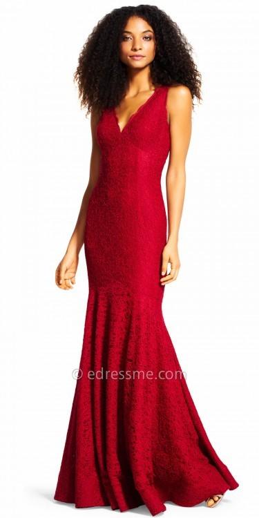 Adrianna PapellAdrianna Papell V-neck Lace Mermaid Evening Dress