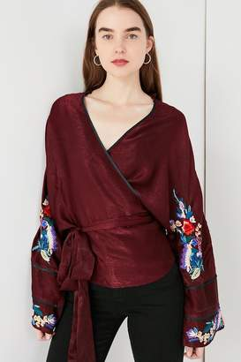 Urban Outfitters Embroidered Sleeve Wrap Kimono Jacket