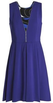 Emilio Pucci Zip-detailed Printed Georgette-paneled Crepe Mini Dress