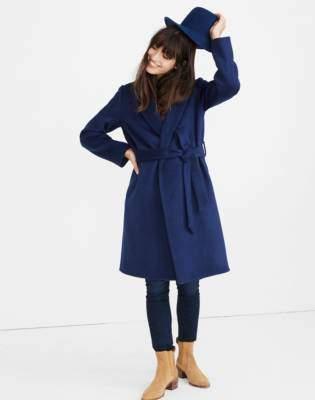 Shawl-Collar Wrap Coat