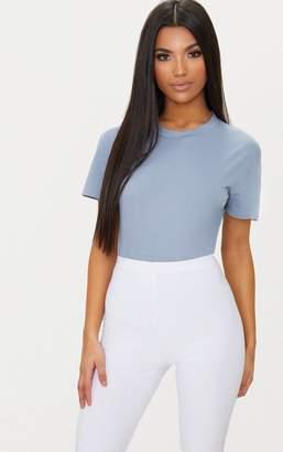 PrettyLittleThing White Cotton Stretch T Shirt Thong Bodysuit