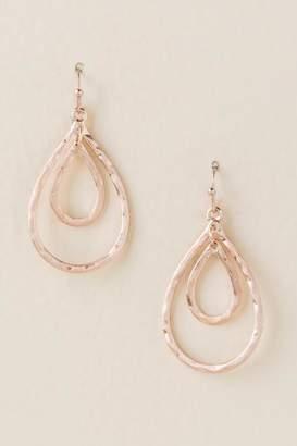 francesca's Priya Double Teardrop Earrings In Rose Gold - Rose/Gold