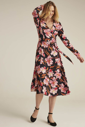 Long Tall Sally Long Sleeve Floral Print Woven Wrap Dress