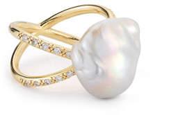 Mizuki Pearl & Diamond Crossover Ring in 14K Gold, Size 7