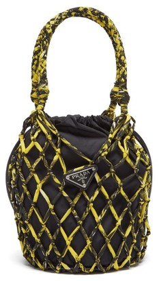 Prada Netted Printed Nylon And Leather Bucket Bag - Womens - Yellow Multi