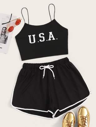 Shein Letter Print Cami Top With Drawstring Waist Track Shorts