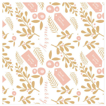 Holly Holiday Personalized Wrapping Paper