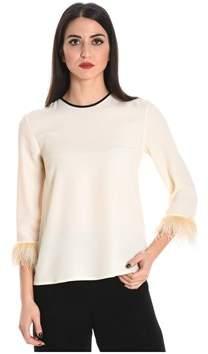 Jucca Women's Beige/white Acetate T-shirt.