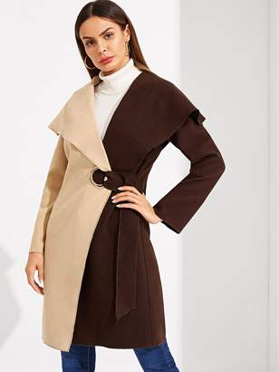 Shein Two Tone Grommet Knot Side Wrap Coat